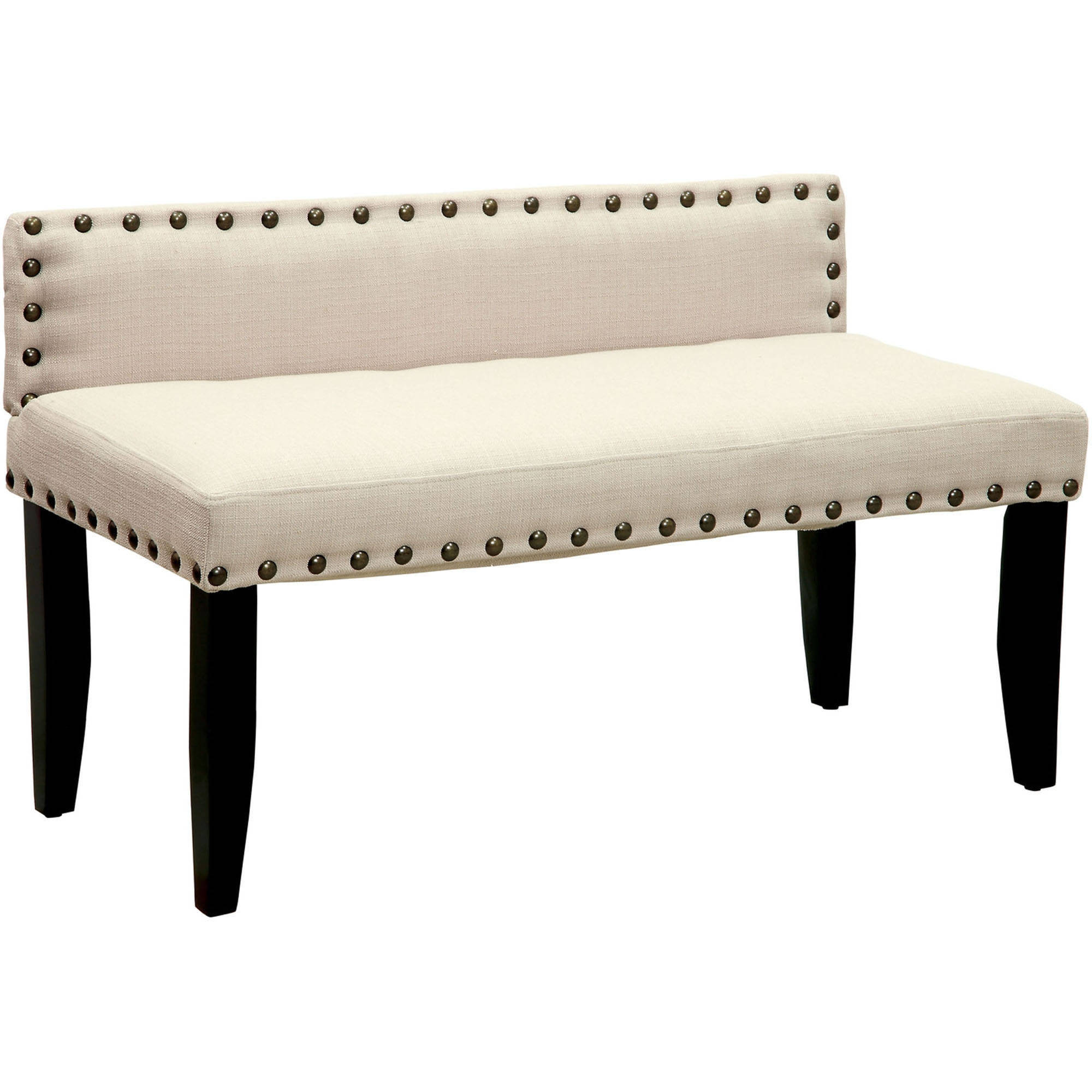 "Furniture of America Mason Modern 42"" Fabric Backed Bench with Nailhead Trim, Multiple Colors"