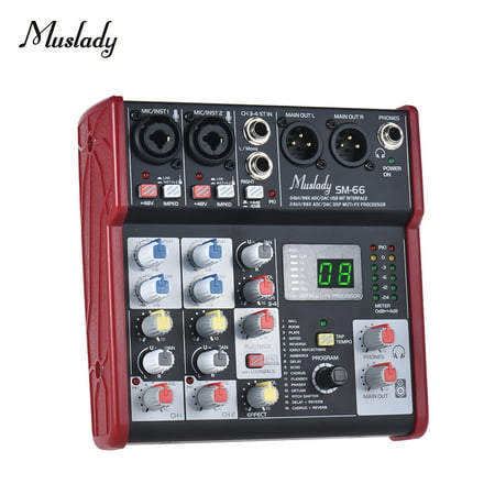 Muslady SM-66 Portable 4-Channel Sound Card Mixing Console Mixer Built-in 16 Effects with USB Audio Interface Supports 5V Power Bank for Recording DJ Network Live Broadcast