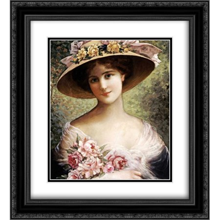 The Fancy Bonnet 2x Matted 20x22 Black Ornate Framed Art Print by Vernon, Emile