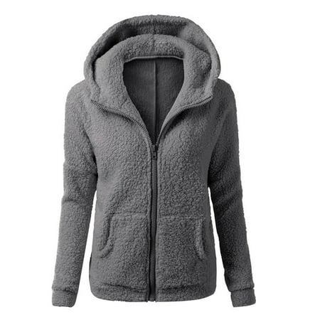 Women's Fashion Thicken Fleece Winter Warm Jacket Hooded Zipper Overcoat Outwear Coat