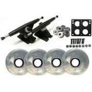 Randal 180 Black LONGBOARD TRUCKS Package 76mm CLEAR Wheels