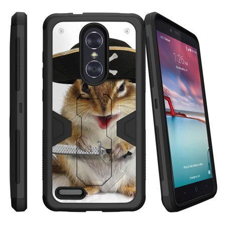 Pro Squirrel (ZTE Zmax Pro Z981 Dual Layer Shock Resistant MAX DEFENSE Heavy Duty Case with Built In Kickstand - Pirate Squirrel)