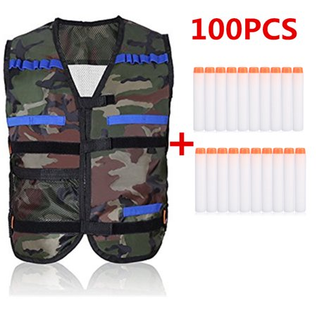 Yosoo Kids Elite Tactical Vest with 100 Pcs Fluorescent White Soft Foam Darts for Gun Elite Series (Not Including 2 Clips)