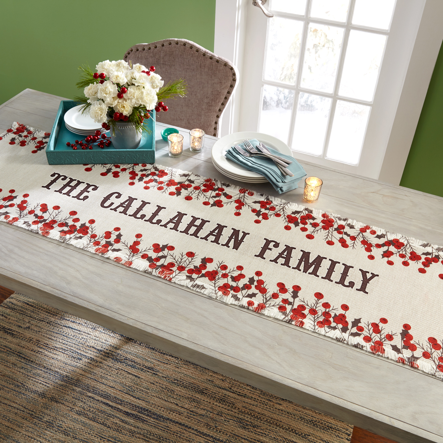 Personalized Winter Berry Christmas Table Runner
