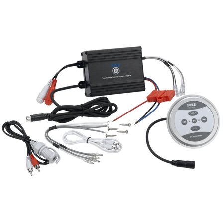 BT Marine Amplifier, 600 Watt 2-Channel Water Resistant Amp (Black)