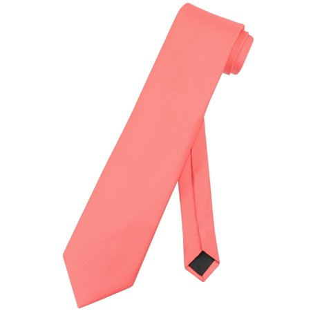 Vesuvio Napoli NeckTie Solid EXTRA LONG CORAL PINK Color Men's XL Neck Tie (Coral Pink Tie)