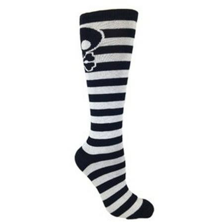 MOXY Socks Black and White Skull Striped Deadlift - Black And White Striped Socks