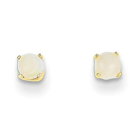 14k Yellow Gold Round Genuine 3mm October Opal Birthstone Post Earrings - Elf Earrings