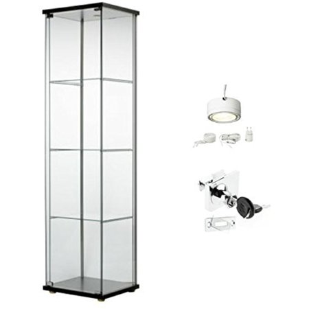 Glass Steel Cabinet (Ikea Detolf Glass Curio Display Cabinet Black, Lockable, Light and Lock Included)