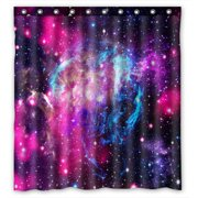 PHFZK Cosmos Cosmic Shower Curtain, Abstract Nature Universe Galaxy Nebula in Deep Outer Space Bule Purple Pink Polyester Fabric Bathroom Shower Curtain 66x72 inches