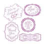 Sizzix Framelits Dies with Clear Stamps, Wedding Expressions, 5pk