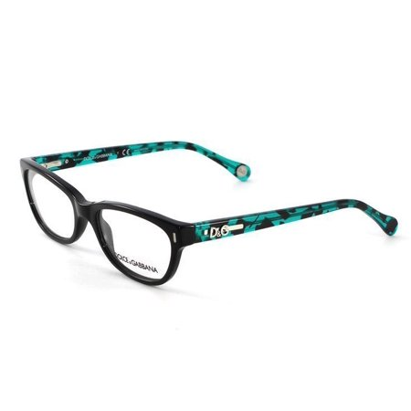 Dolce & Gabbana Rectangular Eyeglass Frames DD1205 52mm Black/Teal By Dolce & Gabbana Eyeglasses