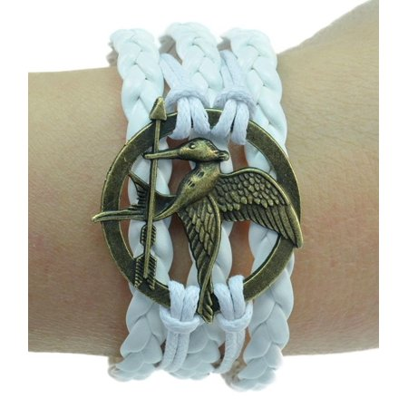 - Fashion Jewelry vintage bronze mockingjay bird arrow white braided leather rope bracelet -02