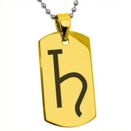 Stainless Steel Solar System Planetary Saturn Engraved Dog Tag Pendant Necklace