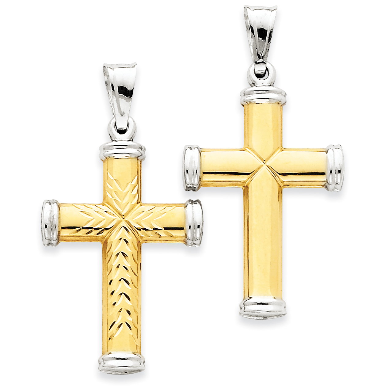 Roy Rose Jewelry 14K Two-tone Gold & Rhodium Reversible Cross