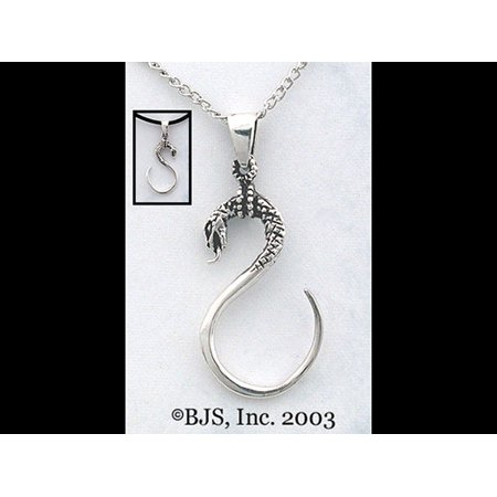 Dimensional Stick (Ouroboros Snake Necklace in S Formation and High quality 3D Dimensional Detail Tongue Sticking Out To Test The Air Made of Sterling)