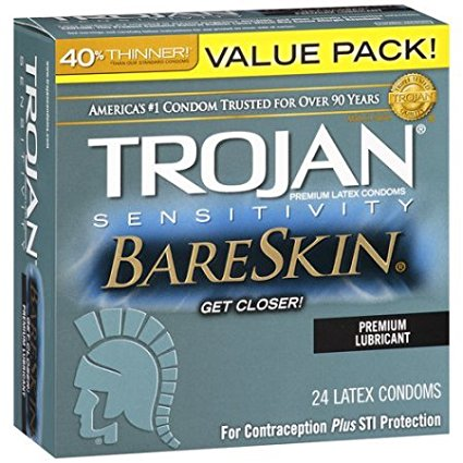 Trojan Sensitivity Bareskin Premium Lubricated Latex Condoms with Silver Pocket/Travel Case-24 Count, 40% Thinner Than Standard Condoms for a More Natural Experience By Trojan Lunamax