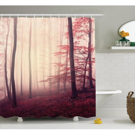 Woodland Decor Shower Curtain Set Fantasy Marsala Color Foggy Forest Jungle Dreamy Wilderness Woods Sunlight Bathroom Accessories 69w X 70l Inches
