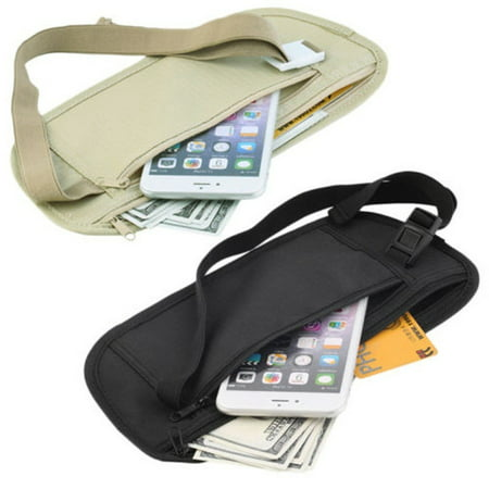 New Travel Waist Pouch for Passport Money Belt Bag Hidden Security Wallet Black Khaki Black Leather Belt Bag