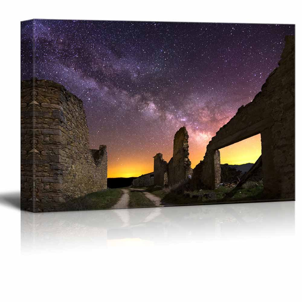 "Canvas Prints Wall Art - Beautiful Scenery/Landscape Old Ruins at Night, Spain | Modern Wall Decor/Home Decoration Stretched Gallery Canvas Wrap Giclee Print & Ready to Hang - 12"" x 18"""