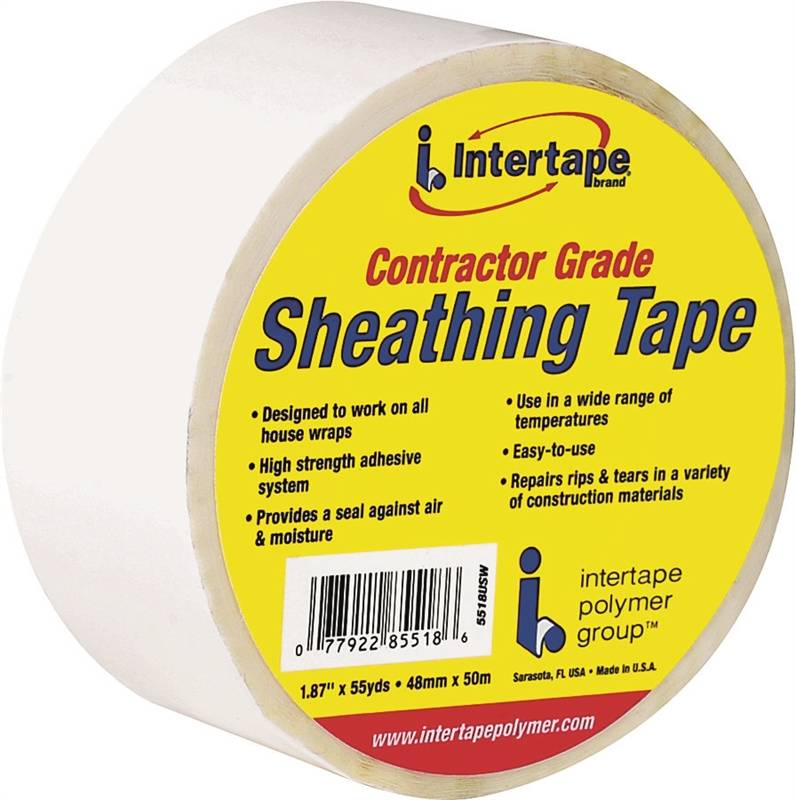 Intertape 5518USW 1.89-Inch X 55-Yard White Sheathing Tape Contractor Grade Each