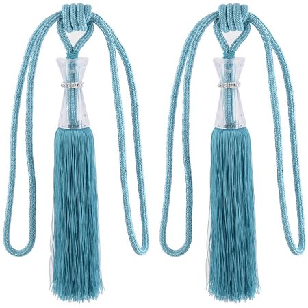 Unique BargainsBedroom Decor Nylon Window Drapery Curtain Tassel Fringe Tieback Band Cyan Pair