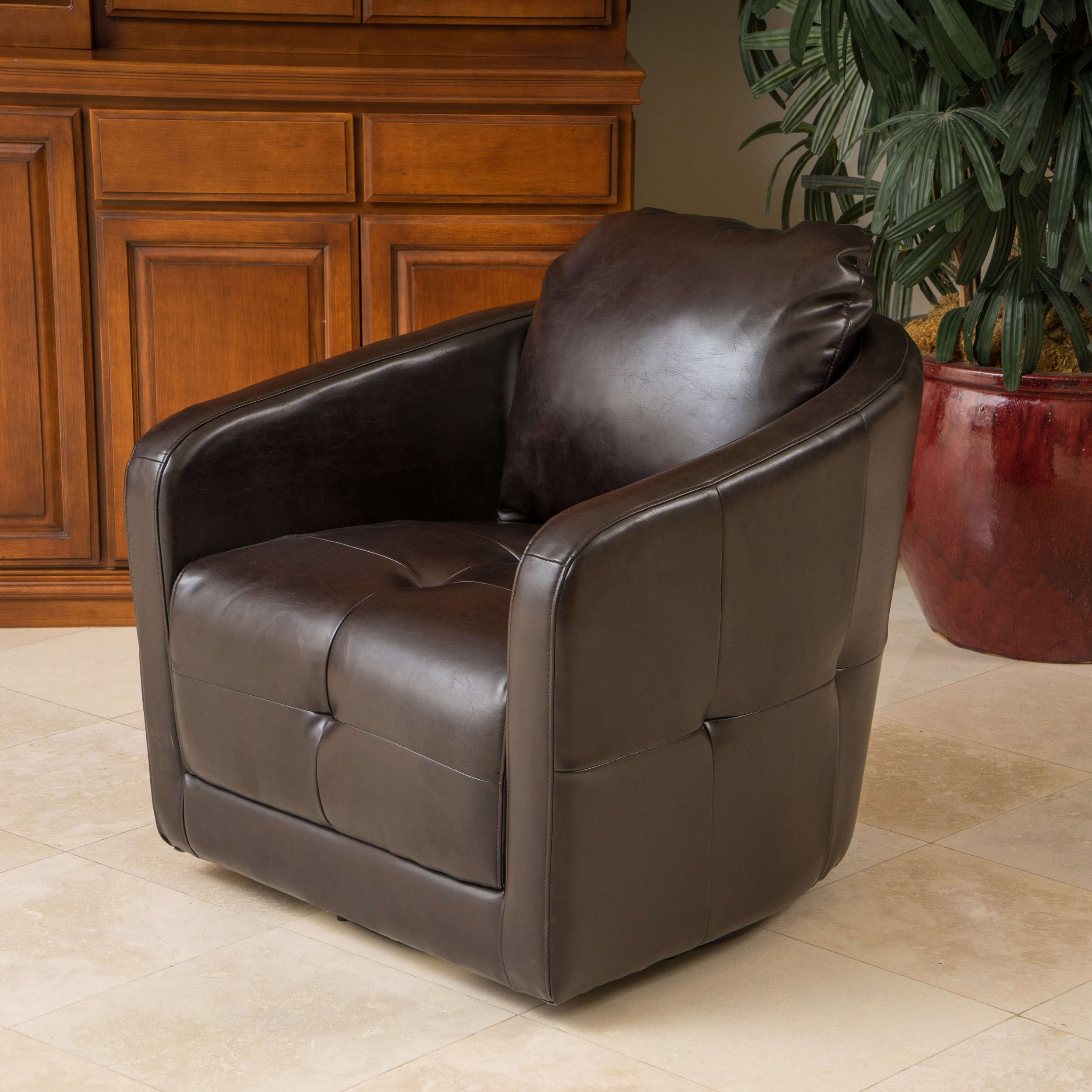 Noble House James Leather Swivel Chair