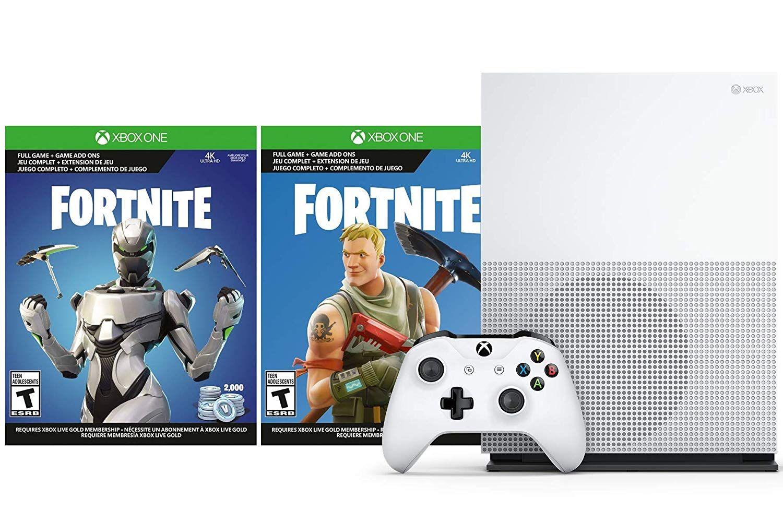 All Xbox One Fortnite Bundle Microsoft Xbox One S Fortnite V Bucks And Skin Bundle 2 000 V Bucks Legendary Rare Eon Cosmetic Set And Xbox One S 1tb Console With 4k Ultra Hd Blu Ray Walmart Com Walmart Com