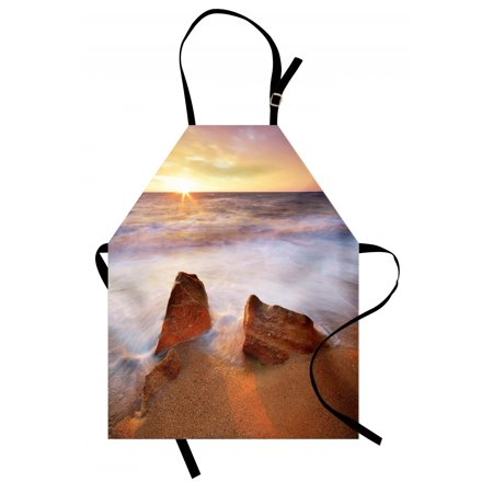 Beach Apron Fantasy Seascape in Exotic Hawaiian Water Sea Sky Peace Relax Theme in Nature Print, Unisex Kitchen Bib Apron with Adjustable Neck for Cooking Baking Gardening, Cream White, by Ambesonne (Hawaiian Themed Decorating Ideas)
