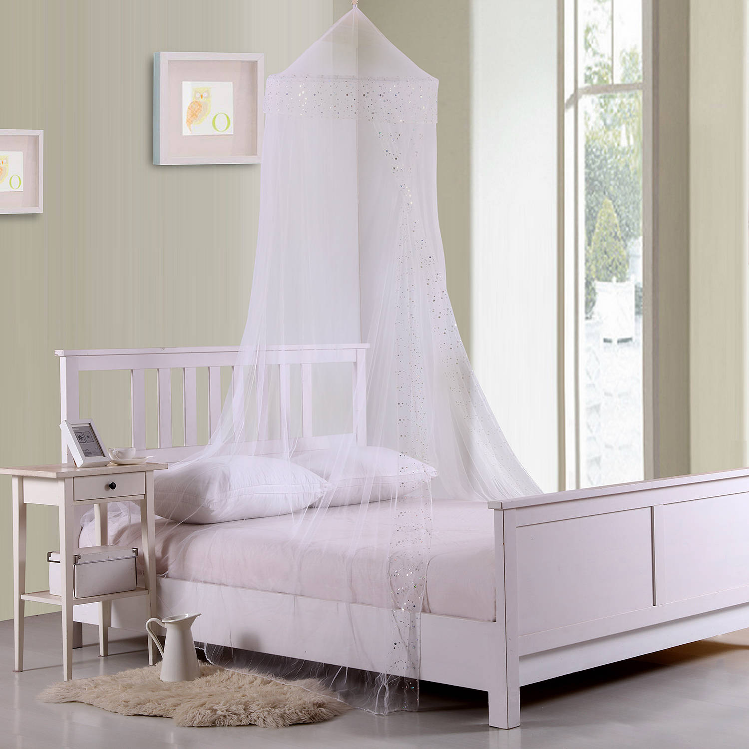 Kids Galaxy Collapsible Hoop Sheer Mosquito Net Bed Canopy