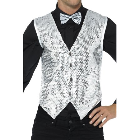 Mens Fancy Dress Silver Sequin Magicians Waistcoat Vest Costume - Fairy Fancy Dress Adults