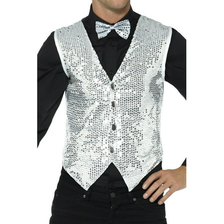 Mens Fancy Dress Silver Sequin Magicians Waistcoat Vest Costume