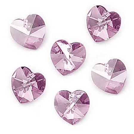 8fd6578952b45 Swarovski Crystal, #6202 Heart Pendants 10mm, 6 Pieces, Light Amethyst