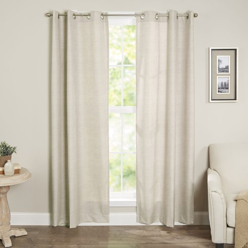 Sun Zero Caleb Linen Texture Thermal Insulated Energy Efficient Grommet Curtain Panel by S. Lichtenberg & Co.