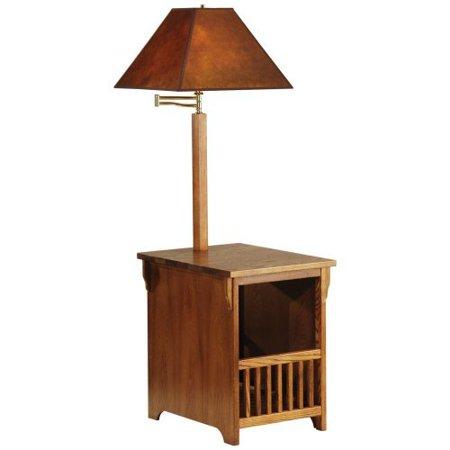 Adesso Lighting 5406f Mission Oak With Magazine Rack Floor Lamp Walmart Com