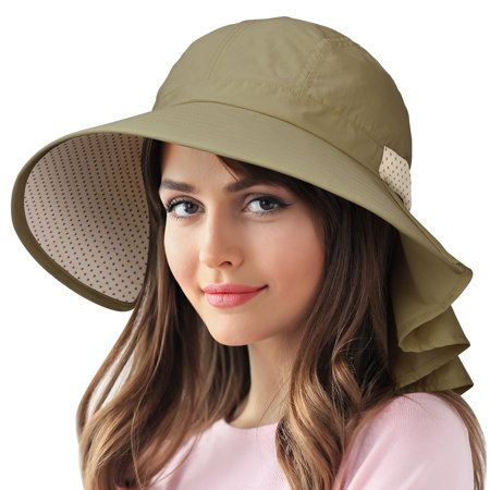 6b5cb4987 Sun Protection Hats for Women Hiking Garden Safari w/ Flap Neck Cover Wide  Brim