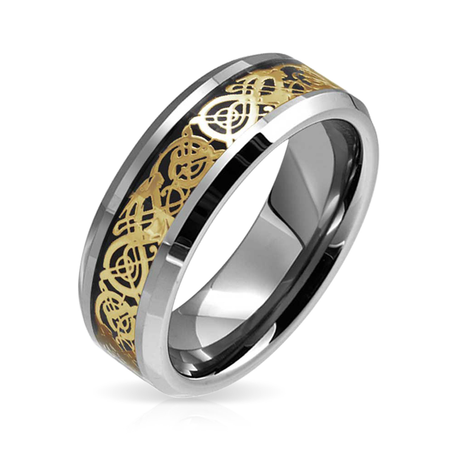 It is just an image of Golden Black Silver Two Tone Celtic Knot Dragon Inlay Couples