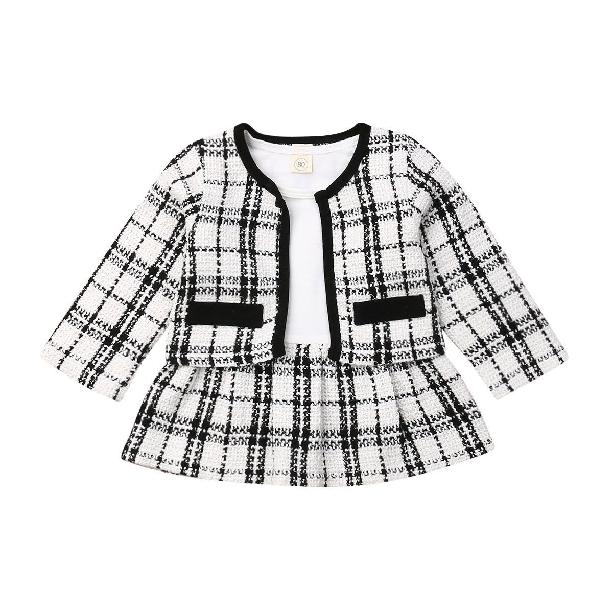 Toddler Baby Girls Clothes Sets Round Neck Long Sleeve Plaid Coat Tops Dress Tutu Skirt Warm Outfit 2Pcs
