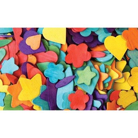 Chenille Kraft Woodsies Creativity Street Die-Cut Party Assorted Wood Shape, Assorted Sizes, 0.06