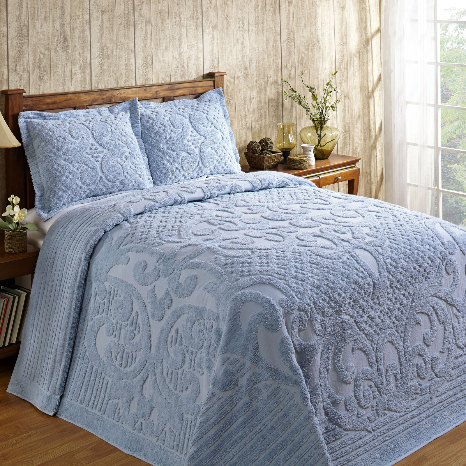 "Ashton Chenille Bedspread, 102""X110""/Queen, Blue"
