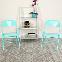Flash Furniture 4 Pk. HERCULES COLORBURST Series Sedona Coral Triple Braced & Double Hinged Metal Folding Chair