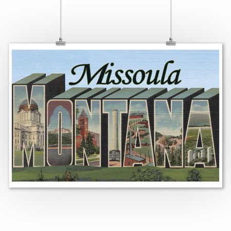 Missoula, Montana - Large Letter Scenes (9x12 Art Print, Wall Decor Travel Poster) Missoula 1 Light