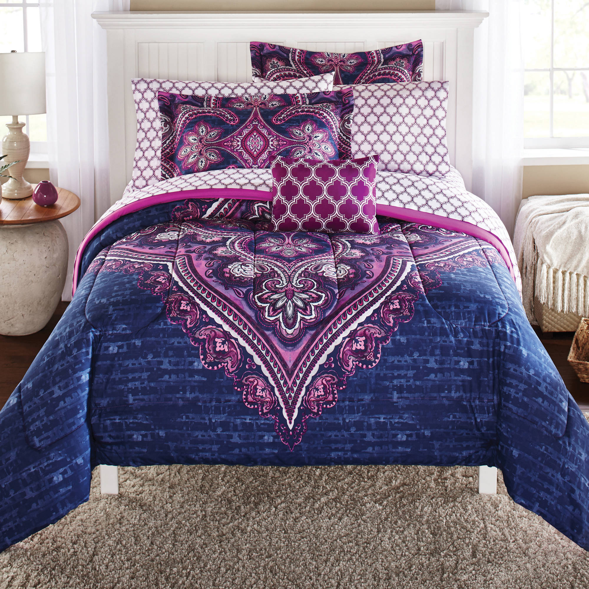 Mainstays Grace Medallion Purple Bed in a Bag Complete Bedding