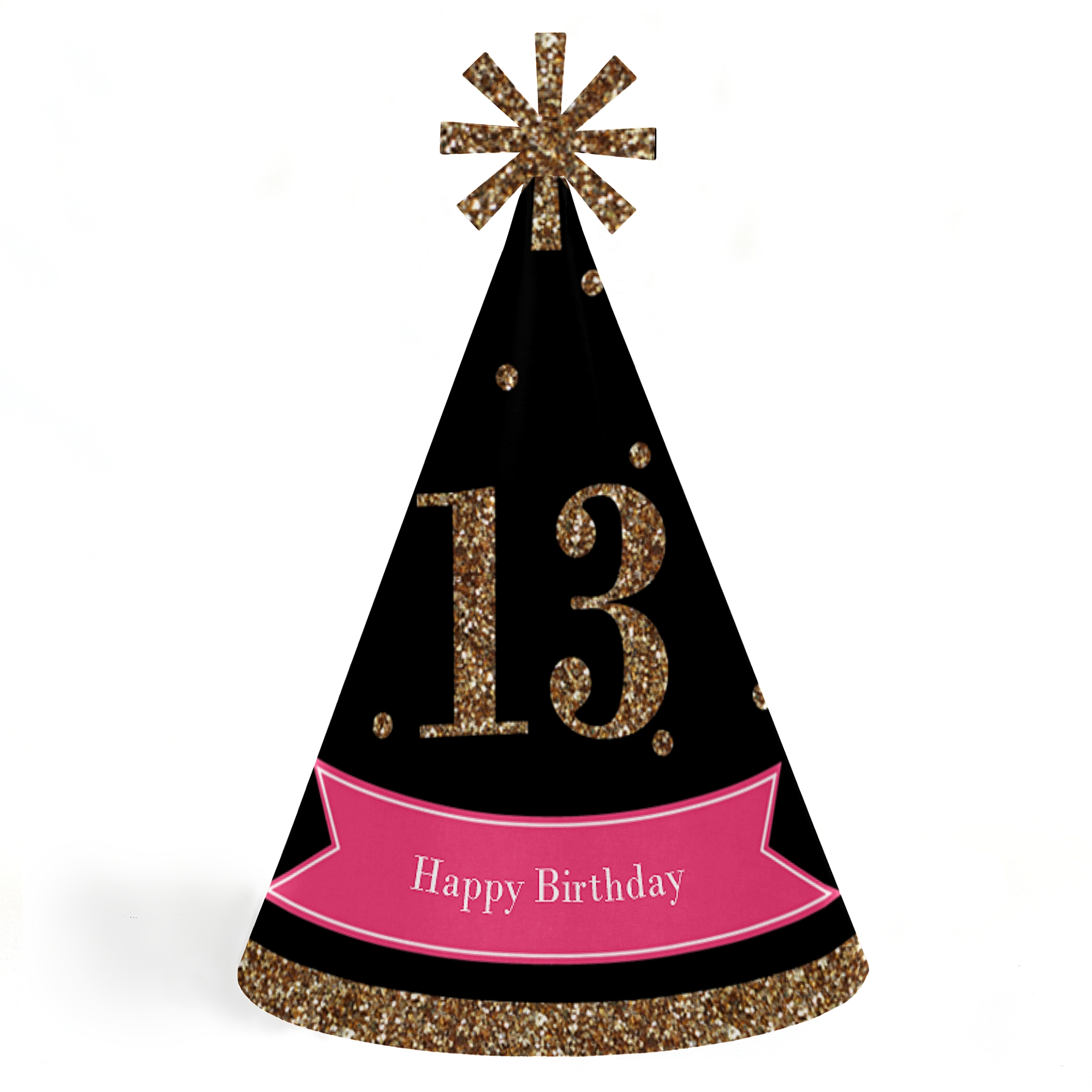 Chic 13th Birthday - Pink, Black and Gold - Cone Happy Birthday Party Hats for Kids and Adults -Set of 8 (Standard Size)