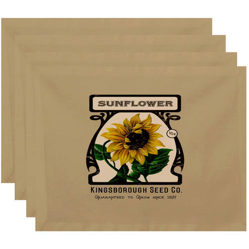 """Simply Daisy 18"""" x 14"""" Sunflower Floral Print Placemat"""