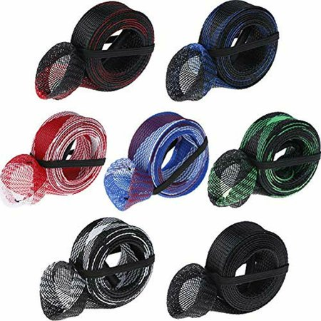 """7 Pieces Fishing Rod Cover Sleeve Sock Braided Mesh With Lanyard For Fly, Sea """" thumbnail"""