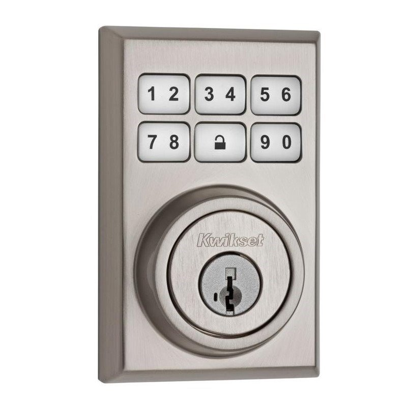 SmartCode Satin Nickel Electronic Deadbolt Featuring SmartKey