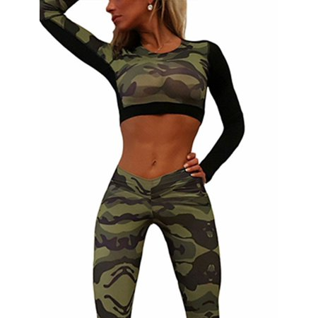 Fashion Women Camouflage Long Sleeve Fitness Sports Running Workout Yoga Sexy Crop Tops T-shirts Tee Blouse