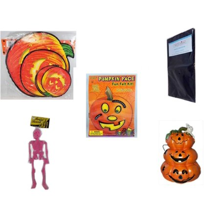 Halloween Fun Gift Bundle [5 Piece] - Classic Pumpkin Cutouts Set of 9 - Black Plastic Table Cover  - Darice Pumpkin Face Fun Felt Kit - Stitches - Hanging Skeleton Pink - Motion-activated Spooky So