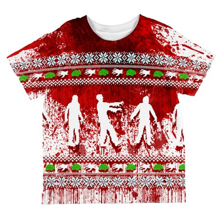Zombie Christmas Sweater.Ugly Christmas Sweater Bloody Zombie Attack Survivor All Over Toddler T Shirt